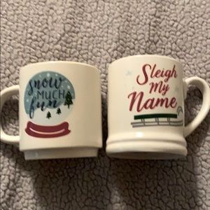 Two Threshold Stonware Christmas Mugs